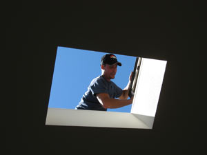cleaning a skylight